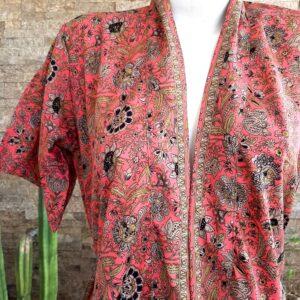 Kimono Seda Coral Corto