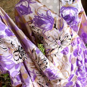 Vestido Wrap largo Lila y Blanco