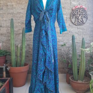 Vestido Wrap largo Azul
