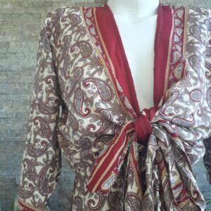 Vestido Wrap largo Blanco y Rojo