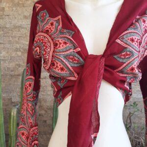 Blusa Algodón Roja y Blanca