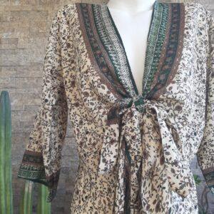 Vestido Wrap largo Verde y Blanco