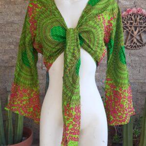 Blusa Algodón Verde y Naranjo
